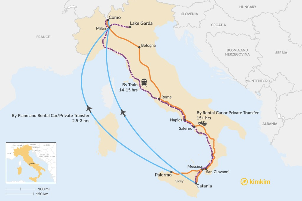 Map of How to Get from Sicily to the Lakes District