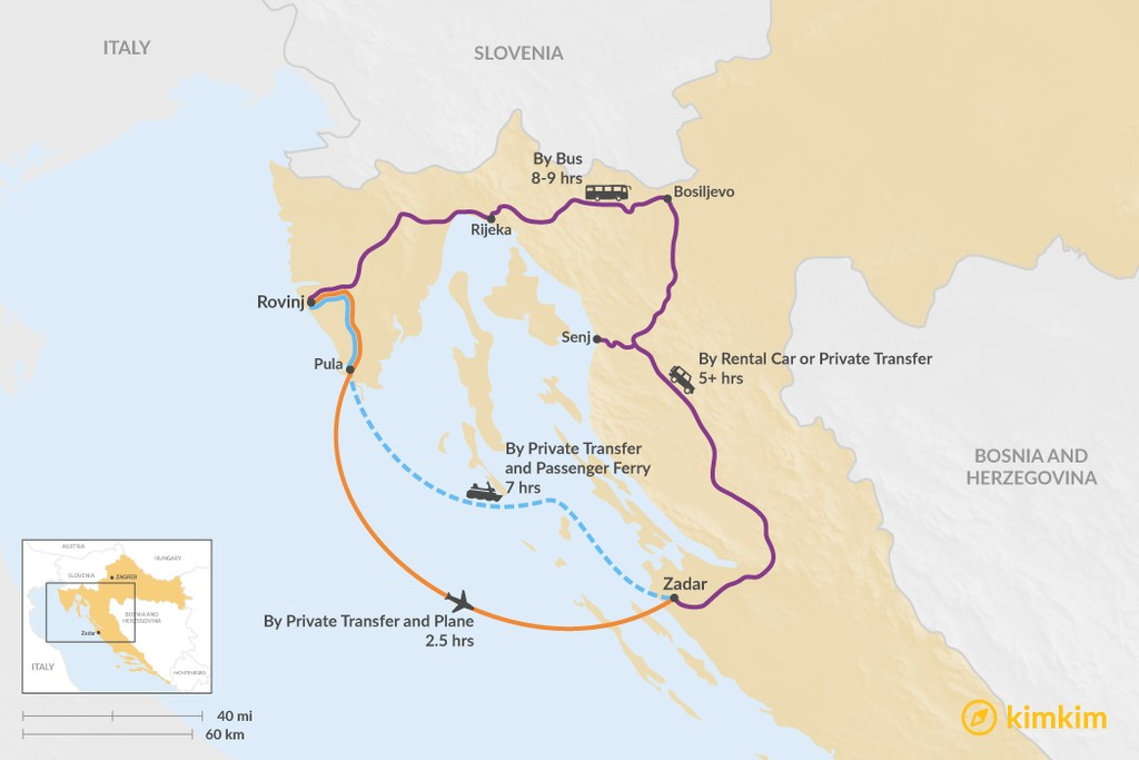 Map of How to Get from Rovinj to Zadar