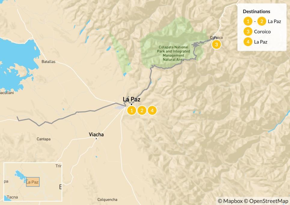 Map of La Paz City Adventure - 5 Days