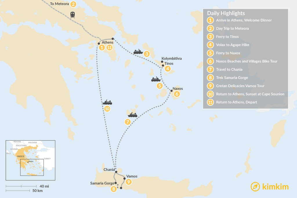 Map of Active Athens, Mainland Greece, Cyclades, and Crete - 11 Days