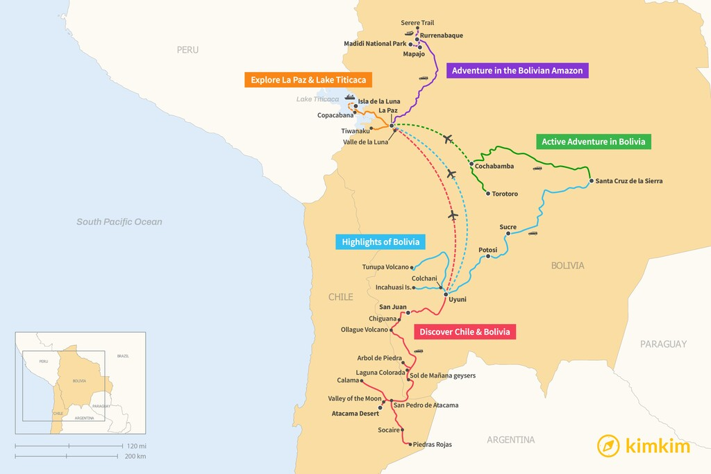 Map of 7 Days in Bolivia - 5 Unique Itineraries