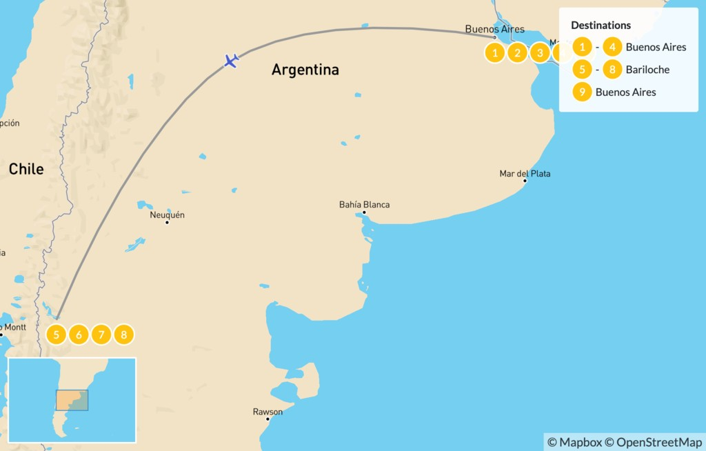 Map of Family Adventure in Patagonia: Buenos Aires & Bariloche  - 10 Days