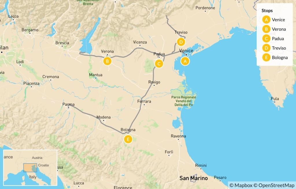 Map of Food & Wine in Verona, Padua, Treviso & Bologna - 11 Days