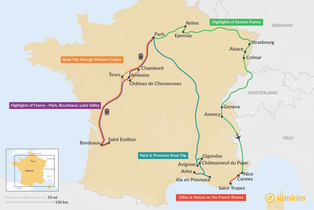 Map of 9 Days in France - 7 Unique Itinerary Ideas
