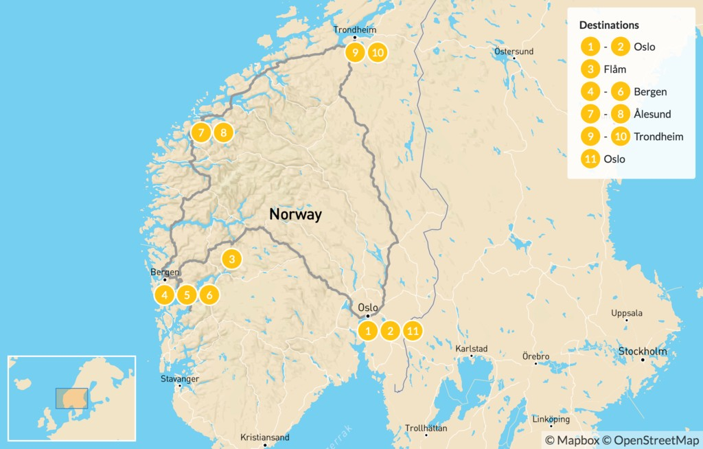 Map of Discover Norway by Train and Boat: Oslo, Bergen, Aurland, and Trondheim - 12 Days