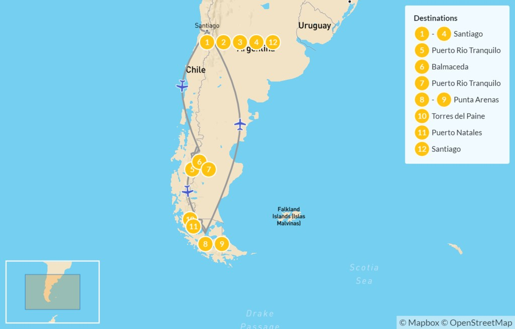Map of Chile: Santiago, Pacific Coast, Patagonia, & More - 13 Days