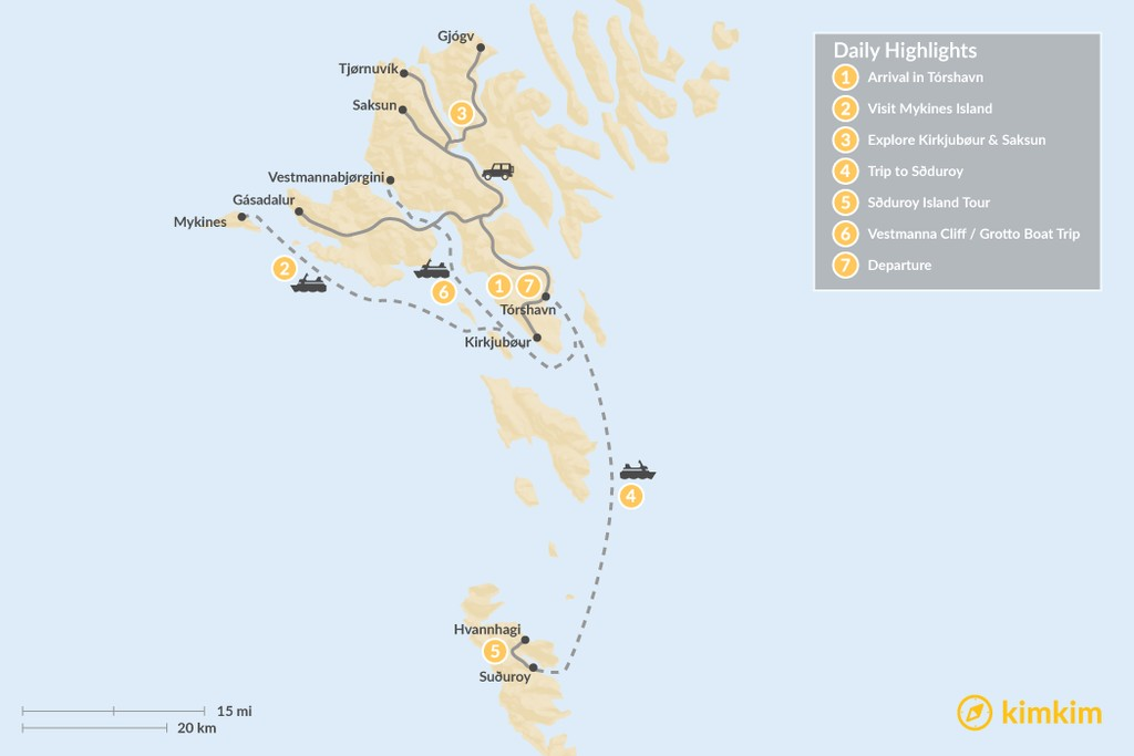 Map of Ultimate Faroe Islands Adventure - 7 Days