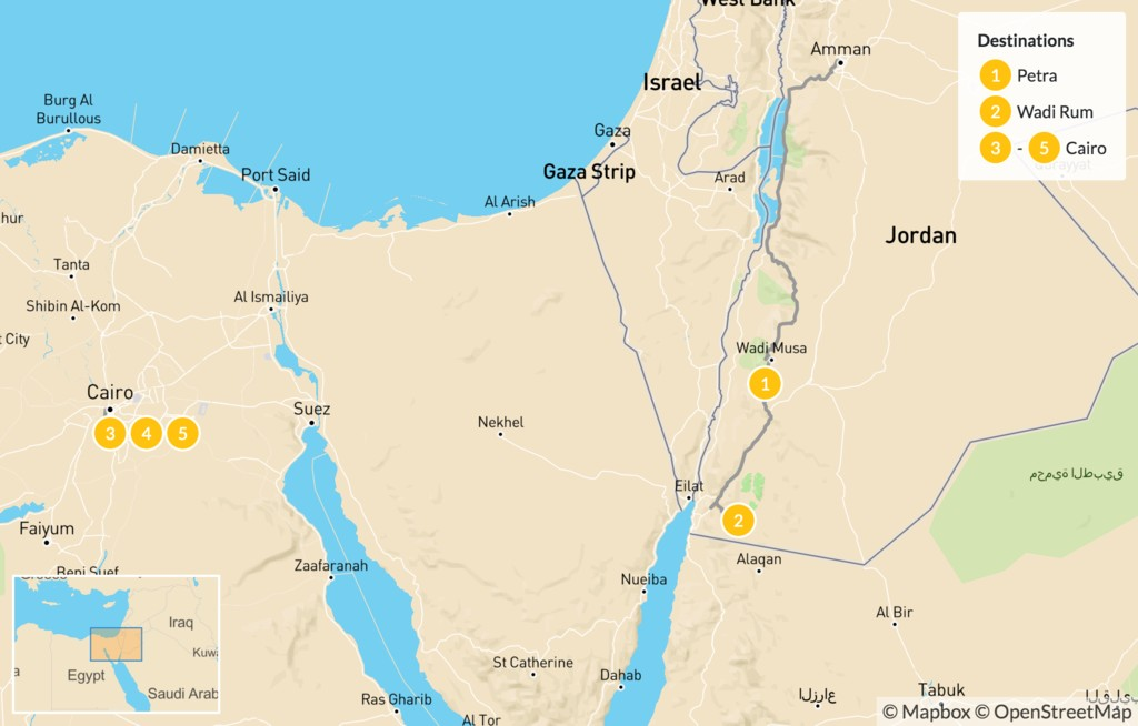 Map of Historical Highlights of Jordan & Egypt: Dead Sea, Petra, Cairo - 6 Days