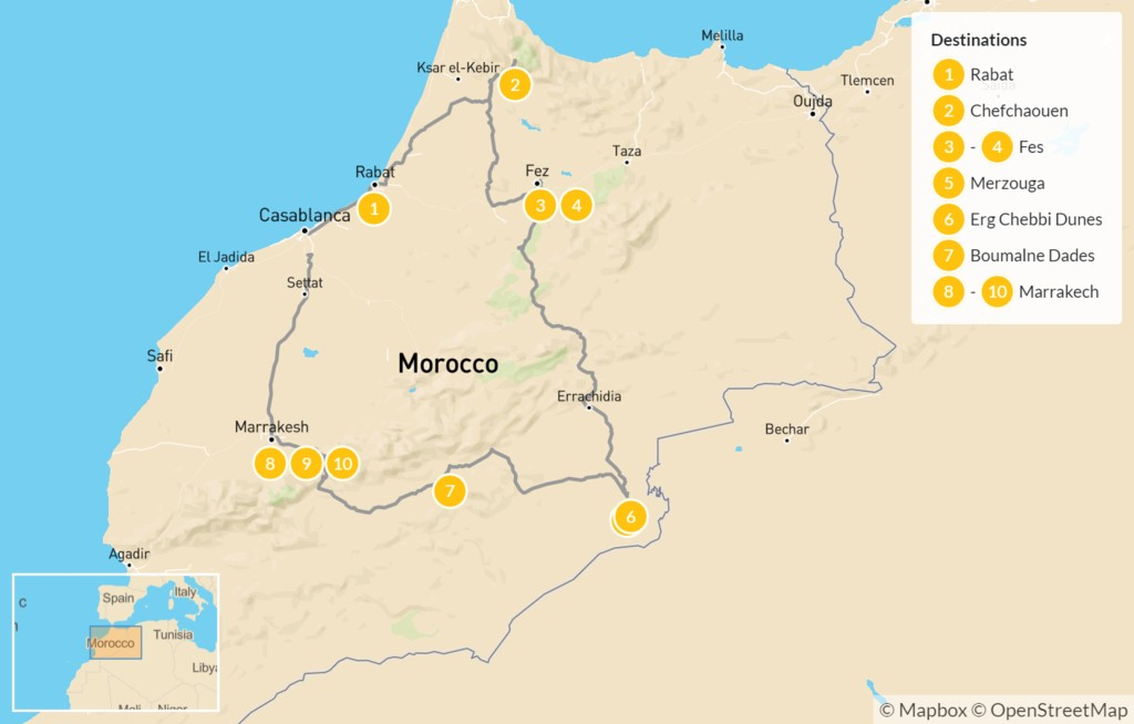 Map of Best of Morocco: Casablanca to Marrakesh - 11 Days