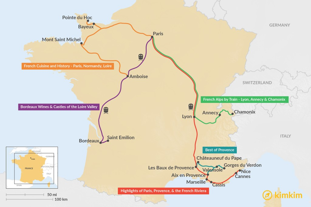 Map of 10 Days in France - 5 Unique Itinerary Ideas