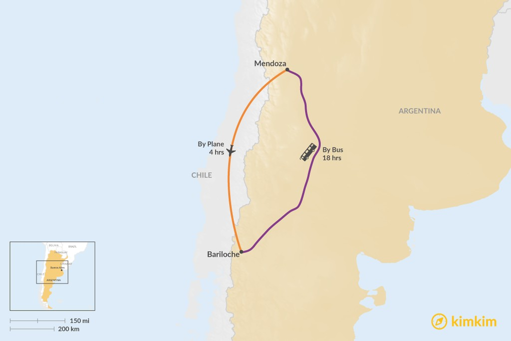 Map of How to Get from Mendoza to Bariloche