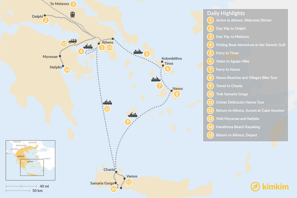 Map of Active Athens, Mainland Greece, Cyclades, and Crete - 15 Days