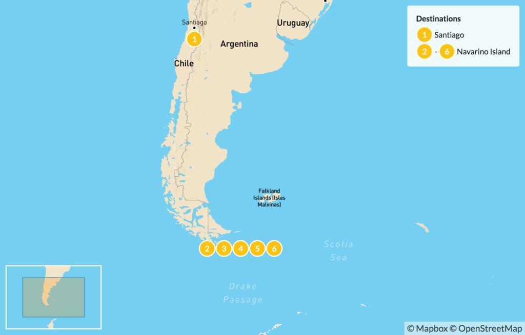 Map of Patagonia's Navarinos Teeth Trek - 7 Days
