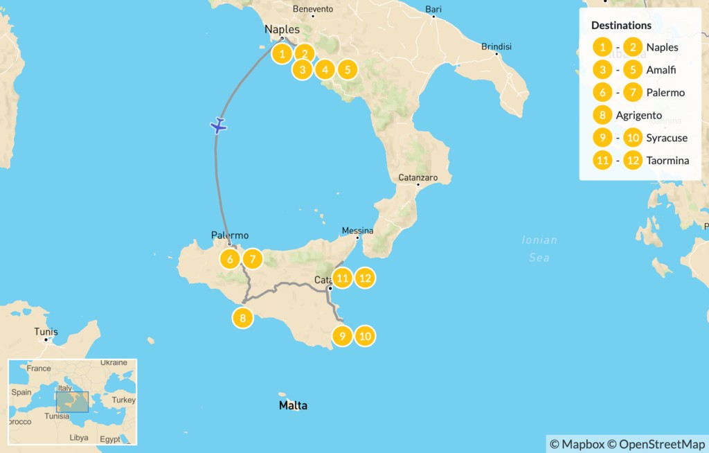 Map of Naples, Amalfi Coast, & Sicily - 13 Days