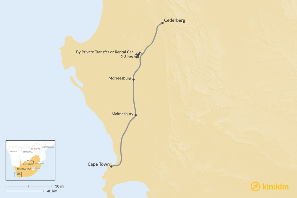 Map of How to Get from Cape Town to Cederberg