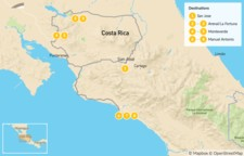 Map thumbnail of Costa Rica Highlights: Arenal, Monteverde, and Manuel Antonio - 9 Days