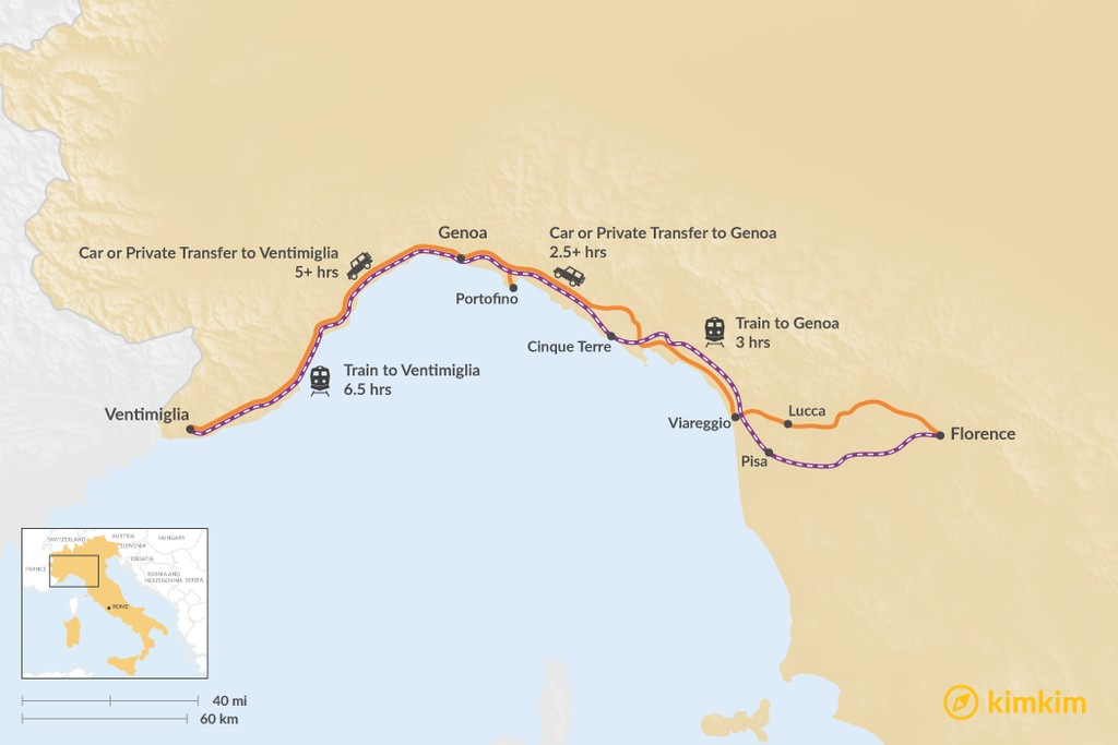 Map of How to Get from Tuscany to the Italian Riviera
