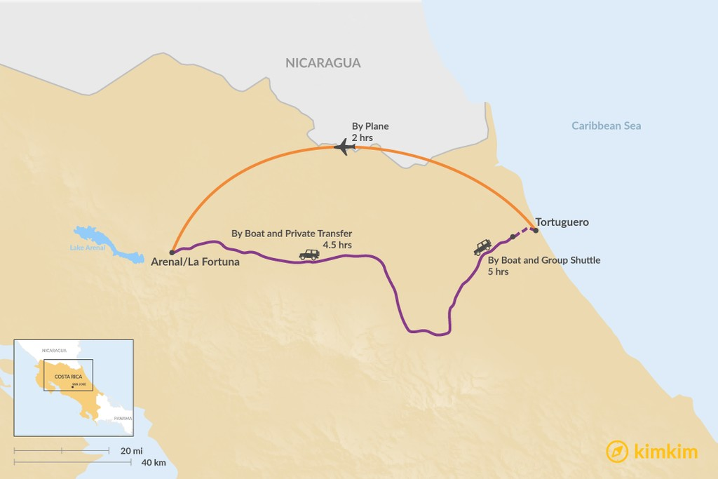 Map of How to Get from Tortuguero to Arenal/La Fortuna