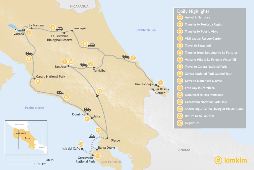 Map of Costa Rica Highlights: Self-Drive Adventure - 16 Days