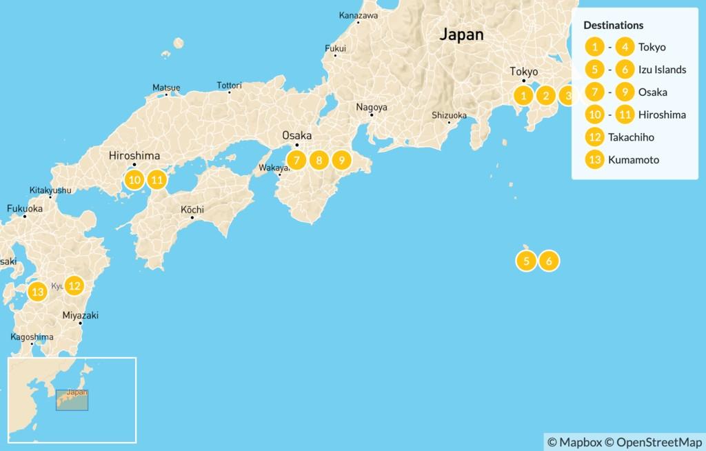 Map of Road Less Traveled Japan: Tokyo, Izu Islands, Osaka, Koyasan, Hiroshima, Takachiho, Kumamoto  - 16 Days