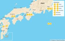 Map thumbnail of Road Less Traveled Japan: Tokyo, Izu Islands, Osaka, Koyasan, Hiroshima, Takachiho, Kumamoto  - 16 Days