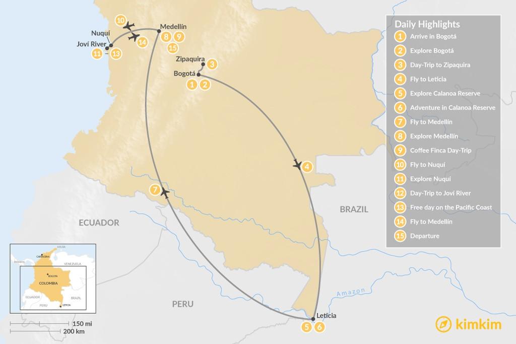 Map of Luxury Colombia Eco-Adventure: Amazon Rainforest & Pacific Coast - 15 Days