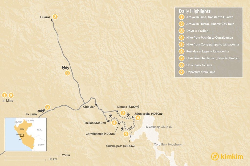 Map of Huaraz & Cordillera Huayhuash Trekking - 9 Days