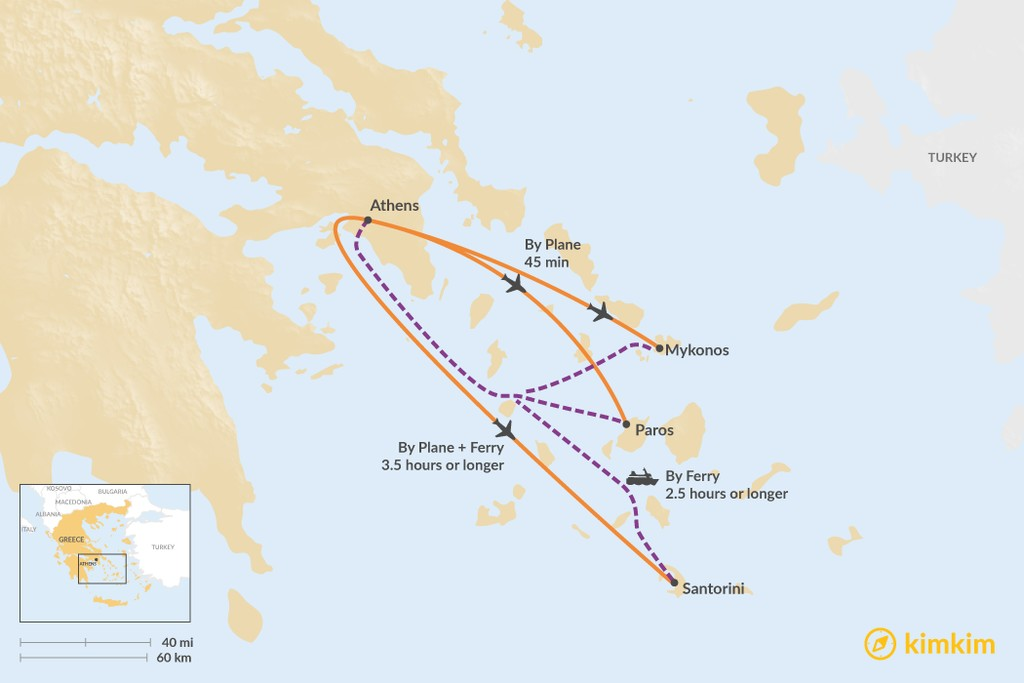 Map of How to Get from Athens to Cycladic Islands