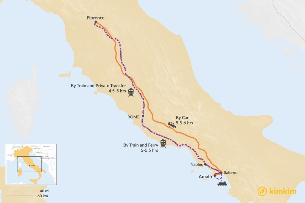 Map of How to Get from Florence to Amalfi