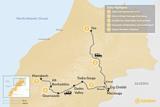 Map thumbnail of A Taste of Morocco: Fes, Sahara Desert & Marrakech - 5 Days