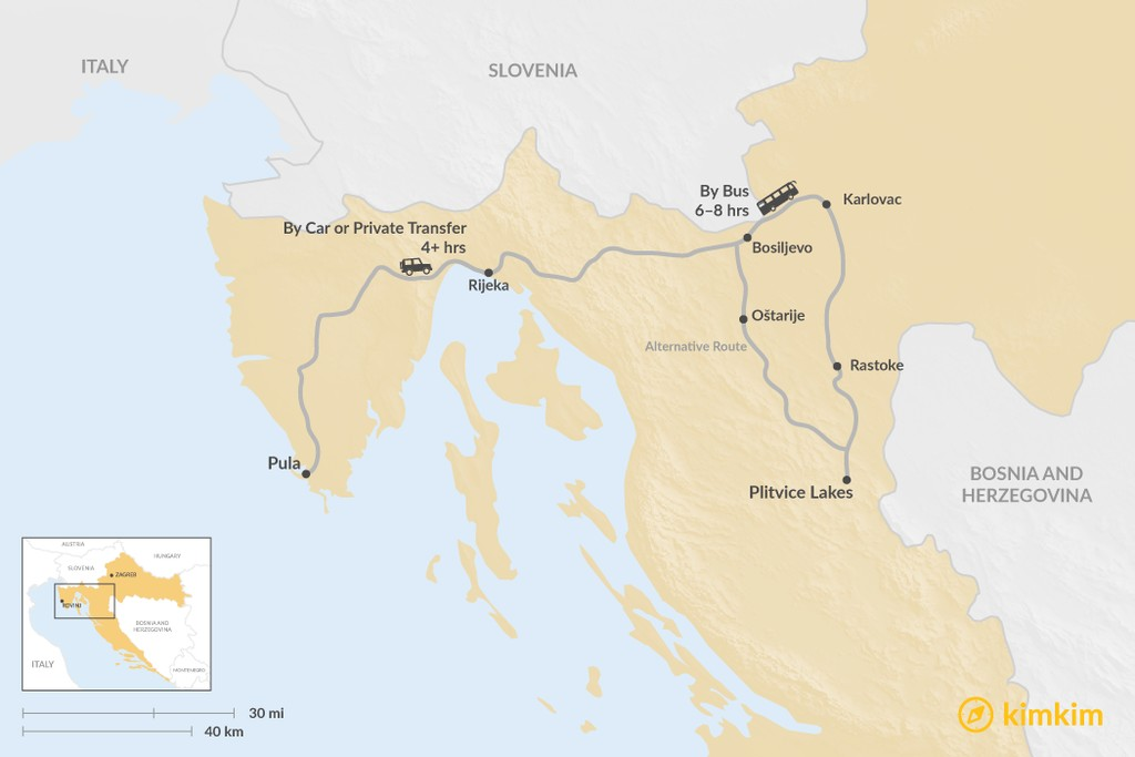 Map of How to Get from Pula to Plitvice Lakes National Park