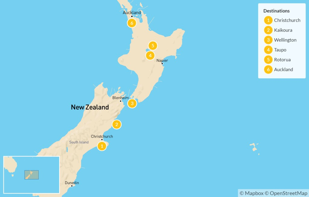 Map of New Zealand: From South Island to North Island - 7 Days