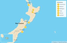 Map thumbnail of New Zealand: From South Island to North Island - 7 Days