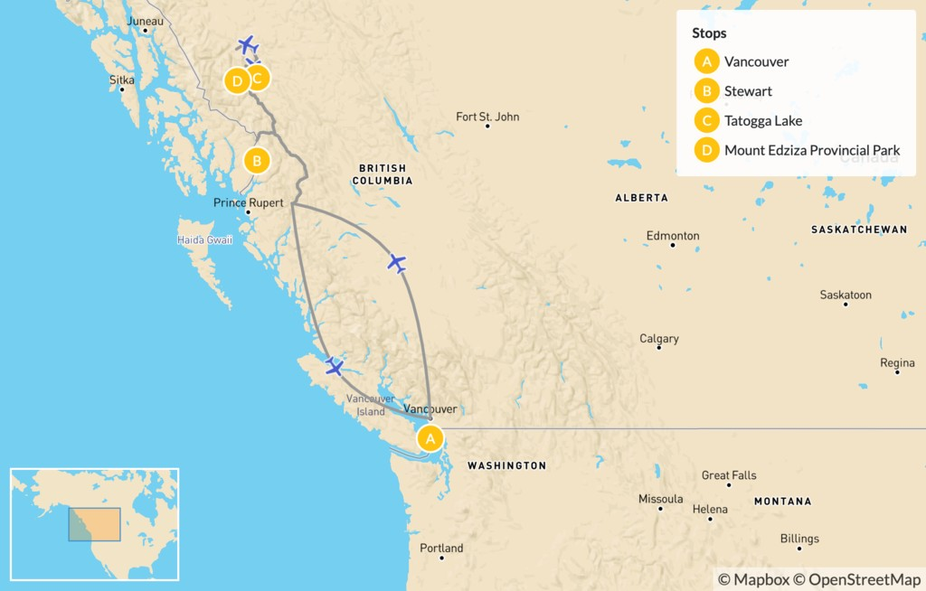 Map of Mount Edziza Traverse in Northern BC - 10 Days
