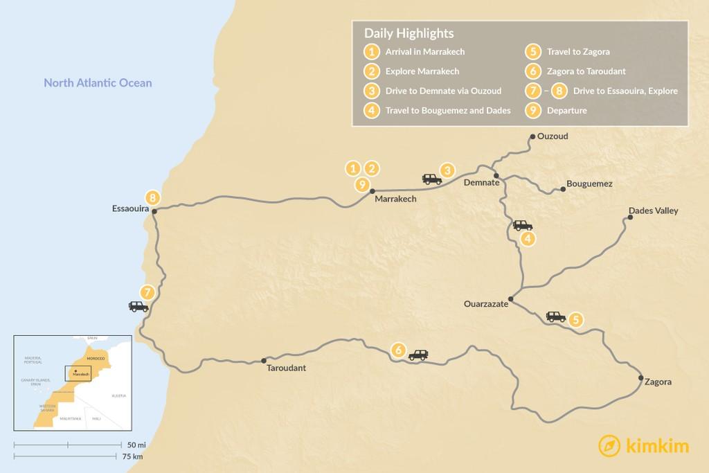Map of Marrakech, Atlas Mountains, and Essaouira - 9 Days
