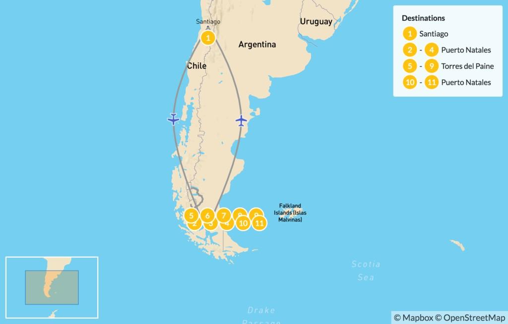 Map of Torres del Paine & Última Esperanza - 12 Days