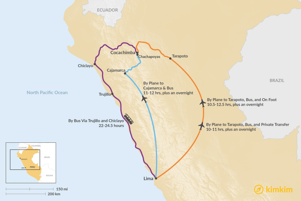 Map of How to Get from Lima to Cocachimba
