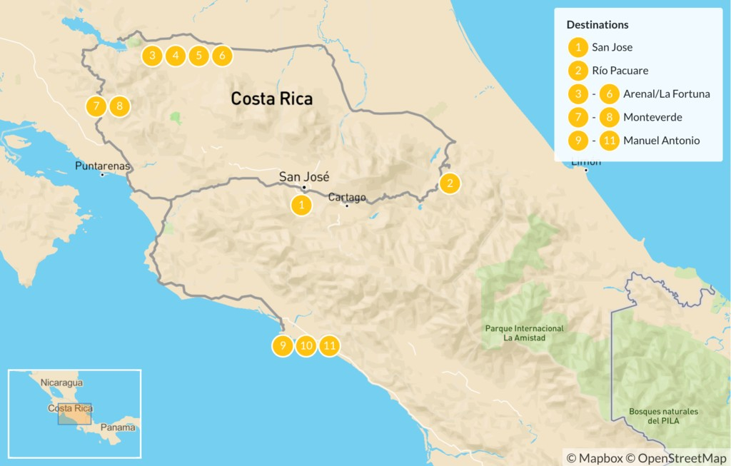 Map of Costa Rica Adventure Tour - 12 days