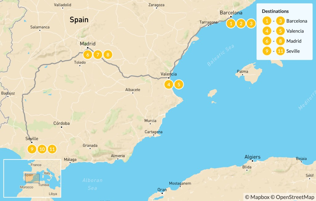 Map of Family Trip to Spain: Barcelona, Valencia, Madrid, & Andalusia - 12 Days