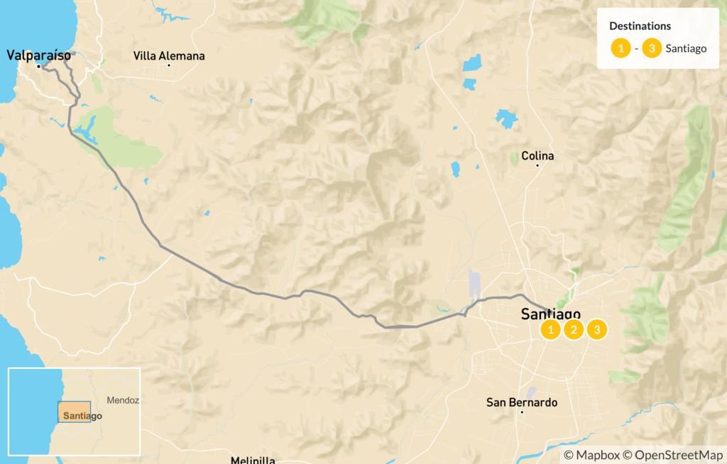 Map of Santiago & Valparaíso Exploration - 4 Days