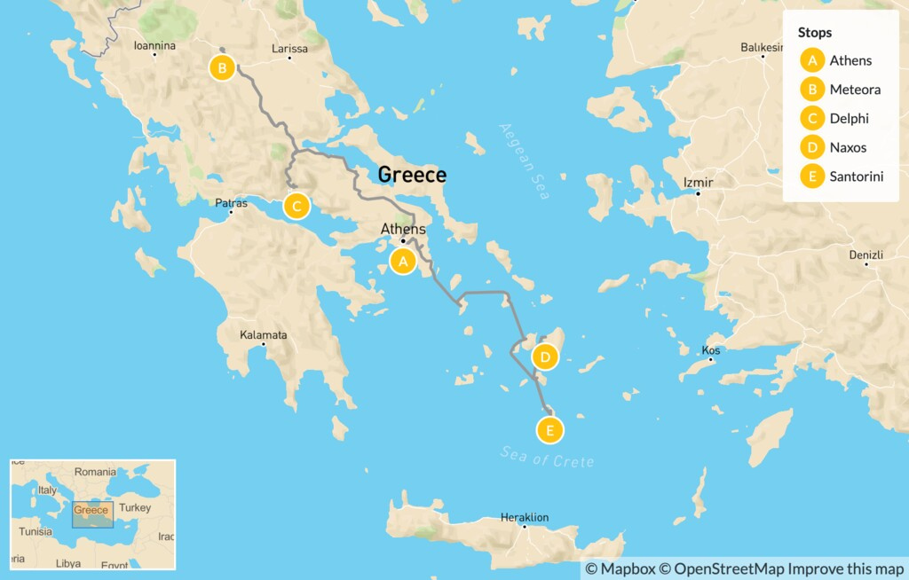 Map of Family Highlights of Greece: Athens, Meteora, Delphi, Naxos & Santorini - 14 Days