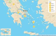 Map thumbnail of Family Highlights of Greece: Athens, Meteora, Delphi, Naxos & Santorini - 14 Days