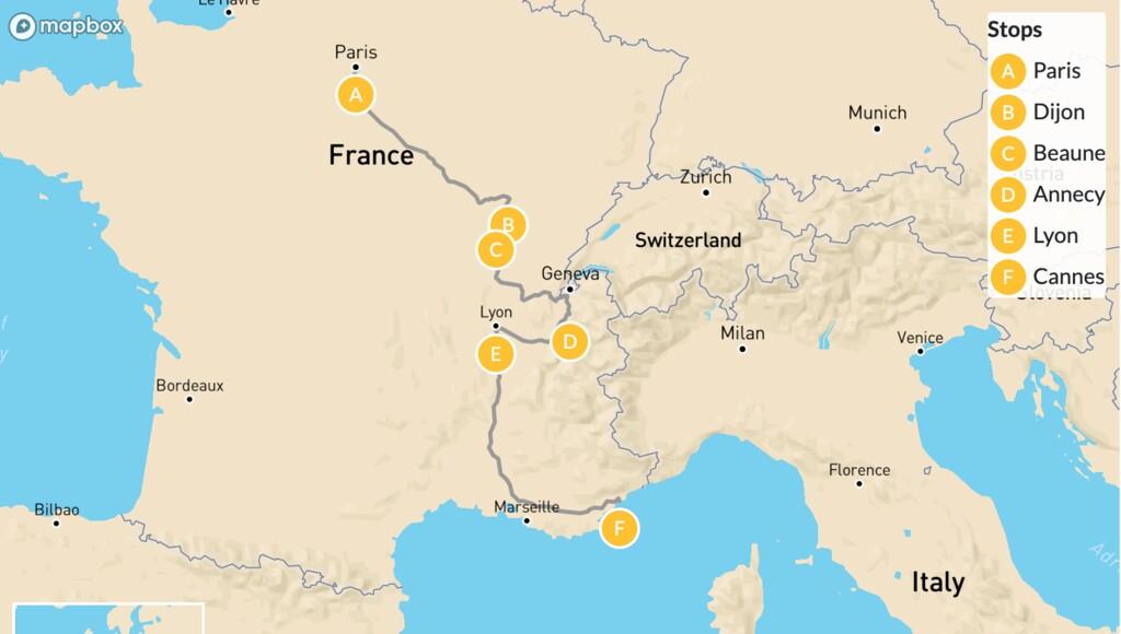 Map of Eastern France Roadtrip: Paris, Dijon, Beaune, Annecy, & More - 12 Days