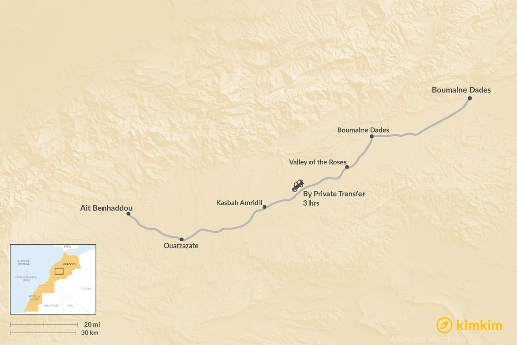Map of How to Get from Todra Gorge to Aït Benhaddou
