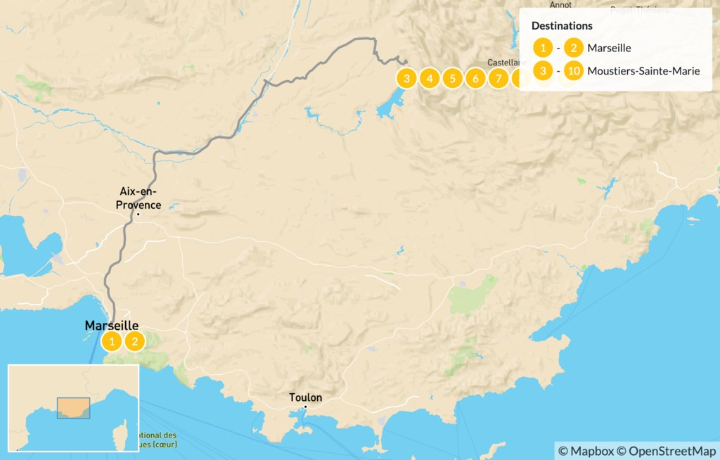 Map of Provençal Alps Adventure: Marseille & Verdon - 11 Days