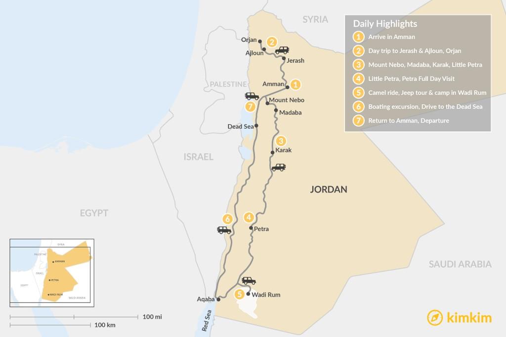 Map of Experience Jordan: Amman, Petra, & Wadi Rum - 7 Days