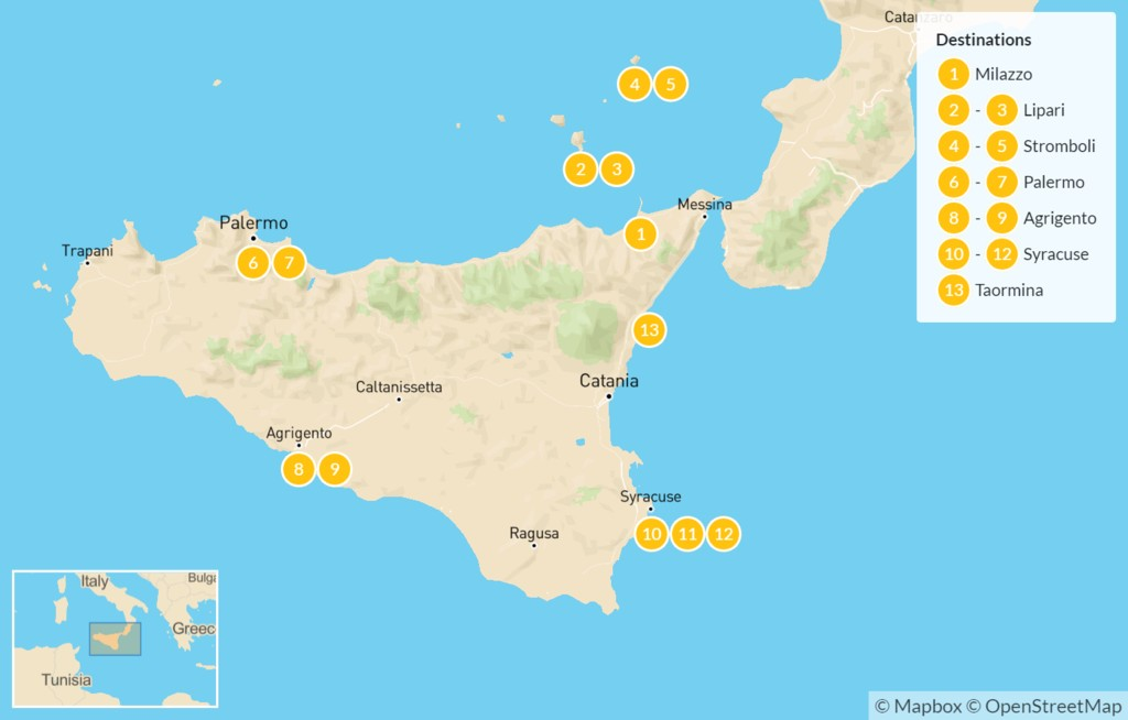 Map of Sicily Highlights Self-Drive Tour with Aeolian Islands - 14 Days