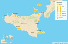 Map thumbnail of Sicily Highlights Self-Drive Tour with Aeolian Islands - 14 Days
