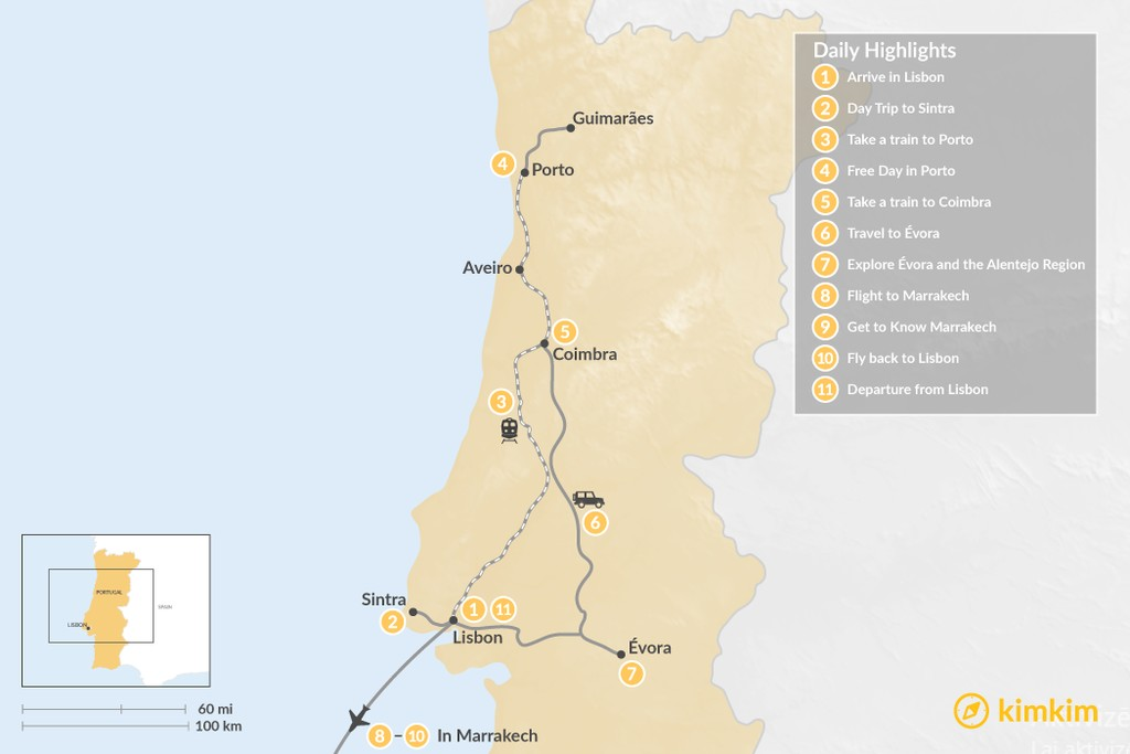 Map of Highlights of Portugal and Marrakech - 11 Days