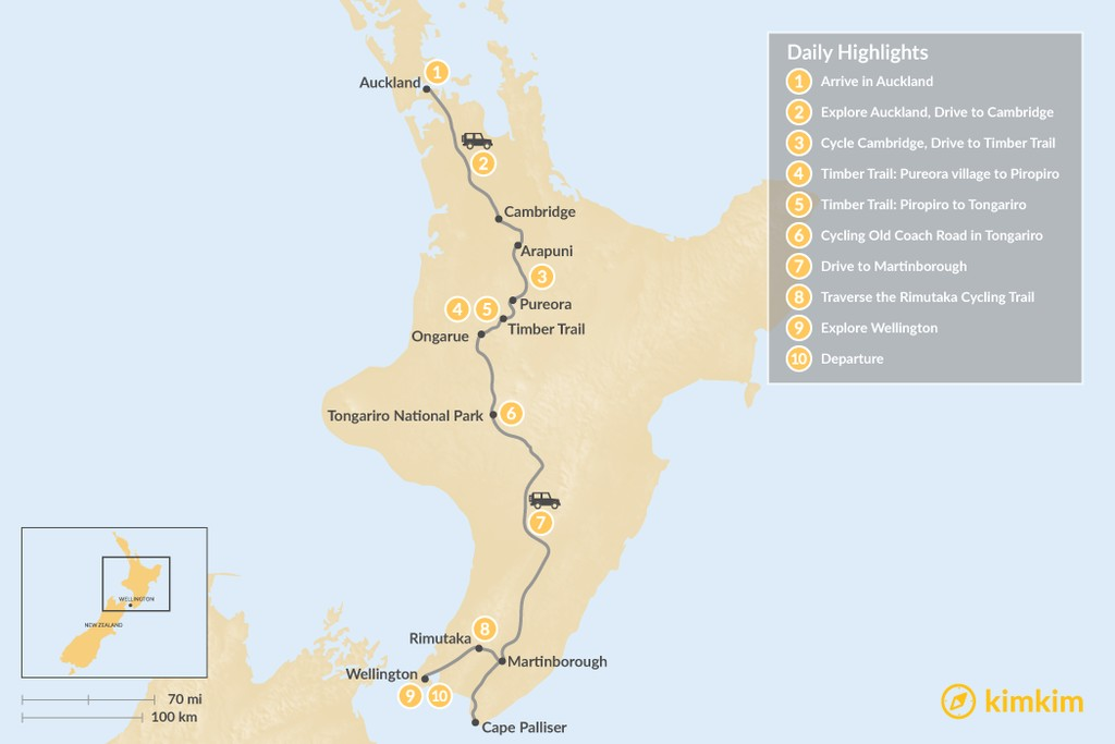 Map of New Zealand North Island Self-Drive & Cycling Tour - 10 Days
